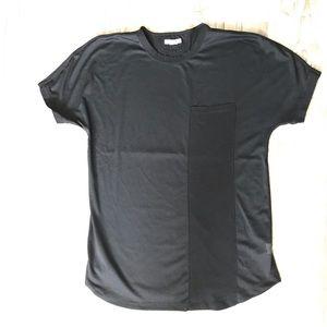 Helmut Lang half mesh black short sleeve tee Sz L